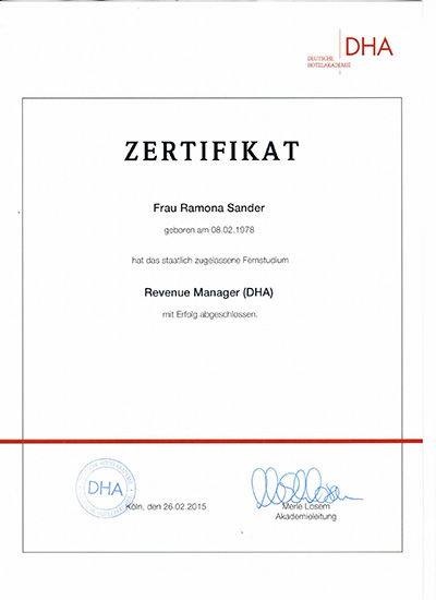 Zertifikat DHA Revenue Manager